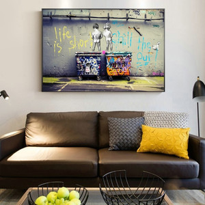 Rue Pop Art Nu Deux enfants Peinture à l'huile sur toile Graffiti Art Affiches et Prints Salon Home Décor moderne Wall Art Photos