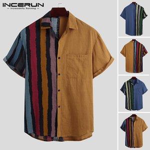 Vocación verano camisas de los hombres de manga corta de solapa flojos respirables Camisa rayada remiendo botones Blusa Moda camisas INCERUN 3XL