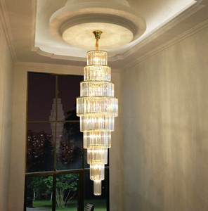 Crystal Large Chandelier Lighting Stairs Long Chandeliers Suspension Light Living Room Villas Staircase Hotel Lobby Lights Pendant Lamps