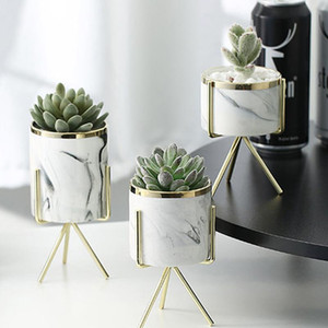 Nordic Ceramic Marble Padrão Ferro Art Vase Rose Gold Silver Tabletop da planta verde Flower Pot Home Office vasos decorativos