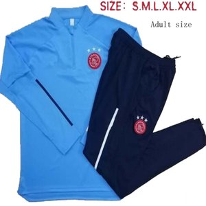 2021 Ajax Erkek Futbol Eşofman Çocuk Seti Ceket Suit Van De Beek Dolberg Kluivert Mavi Tam Fermuar Futbol Eğitimi Takım Üniforma 20 21