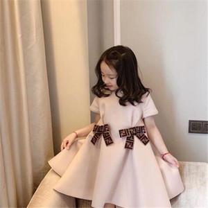 Nuevo diseño de otoño de los bebés vestido corto de la manga del verano del vestido de algodón letra de los niños de la falda de los niños tapas de la ropa