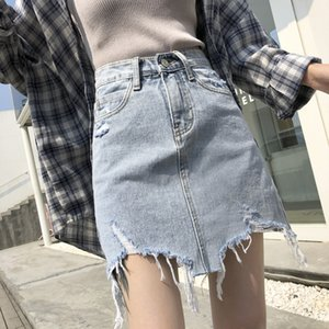 Summer Asymmetrical Denim Skirts For Women Black Blue High Waist Micro Mini Skirts Ladies Ripped Jeans Holes Sexy