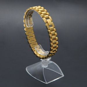 New Mens Watch Bracelet Gold Plated Stainless Steel Strap Links Cuff Bangles Hip Hop Jewelry Gift