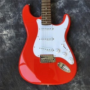 Hot selling factory direct st electric guitar red solid wood guitar 21 level rosewood fingerboard wholesale free shipping