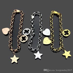 luxury jewelry women designer bracelet chians bracelets with logo and heart accessories silver rose gold fashion jewelry