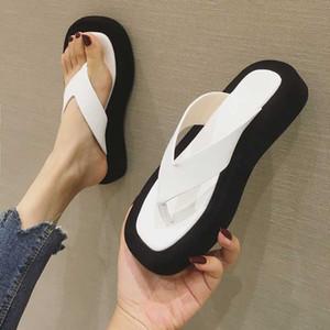 슬리퍼 여성 여름 신발 여성 2020 셰일 여자 비치 플랫폼 낮은 고무 플립 Pantofle 사 보트 플랫 하와이 새로운 로마 퍼