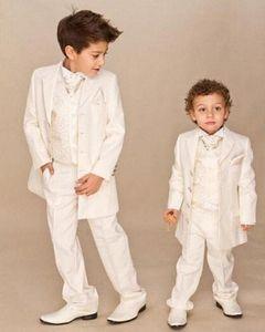 Ivory 4 piece Suit Boy Wedding Suits Boy Tuxedo (Jacket+Pants+Vest+tie) Boys Dress Suit Boy's Formal Wear EjBx#