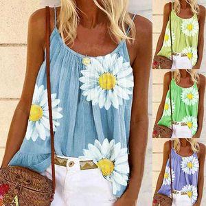 Women Fashion Camisole Plus Size Tank Top Loose Beach Blouses Sleeveless Print Beach T-shirt
