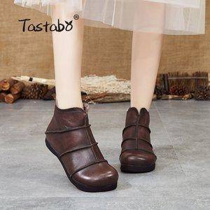 Tastabo cuero genuino botas damas botas de tobillo de la vendimia forro transpirable inferior Brown Negro S99602 suave de las mujeres de todos los días