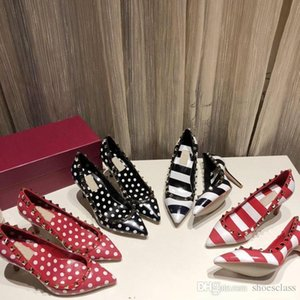 ACE Fashion luxury designer women Dress shoes red bottoms high heels Nude black W white Leather womens Toes Pumps rx20020102