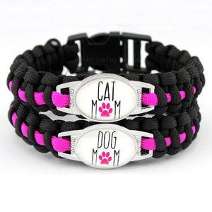 Individuell Dog Mom Cat Mom Schwarz-Rosa-Hundeliebhaber-Katzen-Liebhaber-Liebe-Liebe Paracord Überleben Freundschaft Armband der Frauen pY8a #
