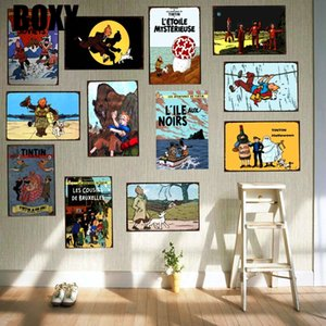 Tintin Cartoon Movie Targa piastra metallica Ferro Pittura Kids Room parete Bar Coffee Home Arte Artigianato Decor