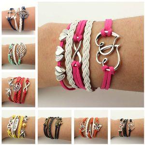 DHL epacket Vintage woven bracelet, handmade wax rope woven, new men and women bracelet DJFB141 Charm Bracelets jewelry