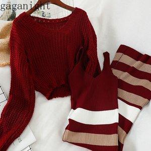 Gaganight Moda lavorato a maglia donne due parti Set maglione short solido a strisce lunghe Dress Lady Ufficio coreano Outfits Primavera Autunno CX200715