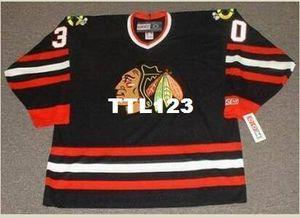 real personalizado Chicago Blackhawks # 30 D Belfour 1992,1996 CCM Retro Longe Hockey Jersey tamanho S-4XL ou personalizado qualquer nome ou número retro Jersey