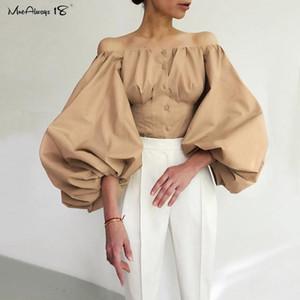 Mnealways18 la linterna de la manga elegante del partido del hombro atractivo de las mujeres blusa de color caqui Off Top blanco de las señoras camisa de algodón Negro ajustado de la blusa