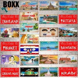 W \ oici Pattaya Plaque Métal Vintage Phuket Thaïlande Voyage souvenir pour mur Accueil Vintage Décor 30x15cm