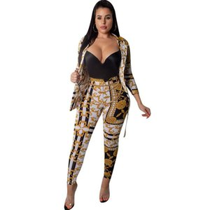 Autumn Winter Sexy Two Piece Pant Suits Women Print Notched Single Button Long Sleeve Slim Blazer Jacket and Tight Pants Set