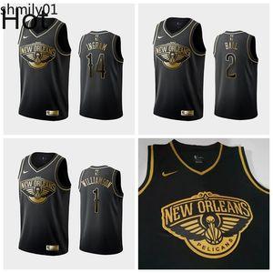 Top New OrleansPelicansMen ZionWilliamson Brandon Ingram Lonzo Ball Black White Golden Edition Basketball Swingman Jersey