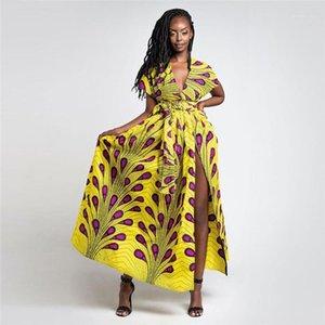 Bölünmüş Seksi Bayanlar Elbise Günlük Renkli Yüksek Bel Kadın Elbise Tüy Afrikalı Kadın Elbiseler Yaz V Yaka