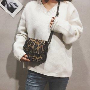 Kadınlar Leopard Baskı Çanta Bayanlar Küçük Kare Çantalar Fawn kolye Shell Omuz Çantası Pu Deri Messenger Pu Çanta Bolsa Feminina N