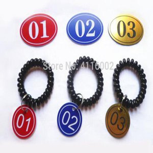 100 Sets Number Tag With Key Ring Spring ID Bracelet Stretchable Spiral Wrist Coil Key Tags Luggage Identification