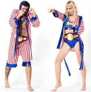 Mens Женщины американский флаг Боксер костюм Rocky Balboa бокса Robe Костюмированный Halloween Party Cosplay Равномерное