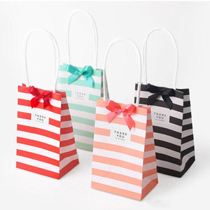50Pcs Small gift paper bag with handles bow Ribbon stripe handbag Cookies candy Festival gift packaging bags Jewelry birthday Wedding