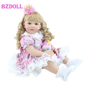 """BZDOLL de silicone souple Poupée Jouet enfant en bas âge Réincarné réaliste Viny 24"""" Blonde bébé Princesse Bebe Lovely Girl Toy cadeau d'anniversaire T200712"""