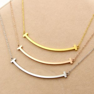 Martick Trend 316L Stainless Steel Smiling Face T Letter Shape Chain Necklace For Women Present Never Fade Fashion Jewelry P473