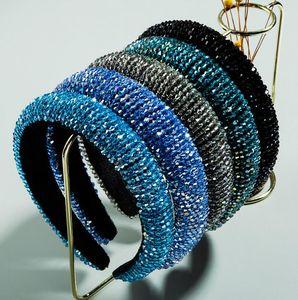 Voller Kristallhaarbänder für Frauen Handmade Perlen Glänzende Sponge Padded Diamant-Stirnband-Haar-Band-Art- und Haarschmuck