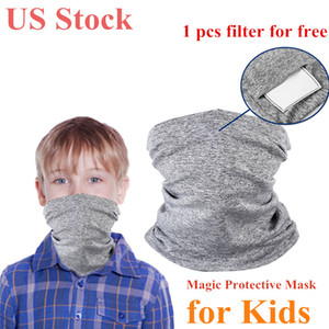 US Stock Kids Magic Protective Face Mask with PM2.5 Filter Scarf Bandanas Anti-Dust Outdoors Sports Running Sunscreen Scarves DHL Shipping