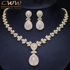 Sistemas de la joyería collar de la boda Cwwzircons Noble Micro Pave Cubic Zirconia Piedras de lujo de Dubai color oro de novia para las mujeres T157 SH190713