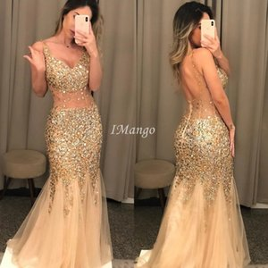 Luxury Mermaid Prom Dresses Deep V-Neck Illusion Sequins Beaded Backless Evening Celebrity Party Gowns Arabic Sweep Train