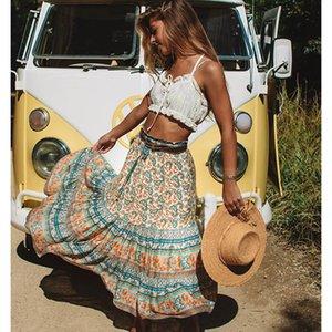 Jastie 2020 Summer Skirt Women Paisley Floral Print Skirts Casual Vintage A-Line Beach Skirt saia Jupe Femme faldas Midi Skirts T200712