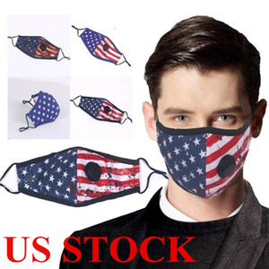 Разработанная доставка DHL американского флаг Маска Хлопок Многоразовые Муфельный респиратор Замена клапан патрон фильтр маска Отпечатано