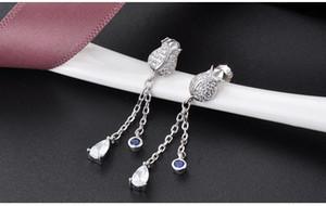 Top quality S925 sterling silver women's drop earrings SS925 earring women's silver CZ earring cubic zirconia silver flower earrin