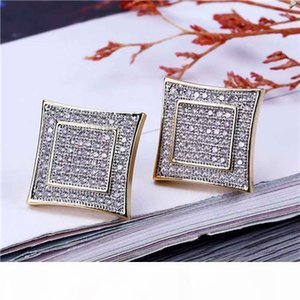 Hip Hop Bling Sparking Mens Boy Jewelry Gold Black Color Kite Square Shape Simple Micro Pave Cz Screw Back Earring