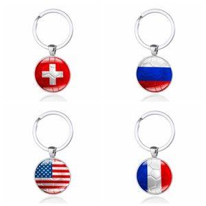 2018 Metal Key Chain World Cup Fashion Keychain Alloy Round Key Buckle Football National Flag Pattern Keyring Portable 1 8xm B