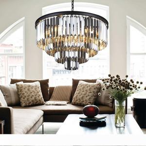 Lustre LED Ring Vintage Loft Glass K9 Crystal Chandelier Lighting Fixtures Pendant Hanging Light for Bedroom Living Room Kitchen Hotel