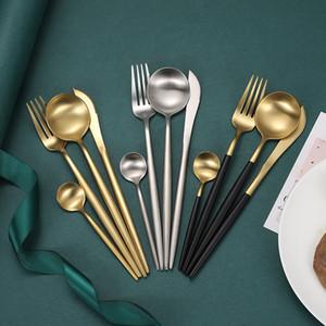 Matt Edelstahl-Geschirr-Set Portugal Eß- Teller Anzug Besteck Küche Steak-Messer-Gabel-Löffel-Set Geschirr Vier 21 6wx B2