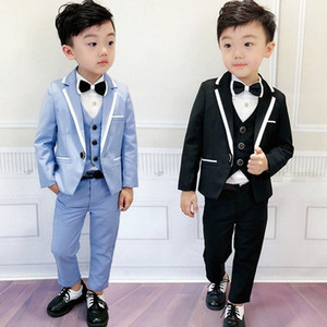 Flower Boys Graduation Tuxedo Suit for Wedding Kids Birthday Dress Blazer Vest Pants 3pcs Clothing Set Children Ceremony Costume OuRe#
