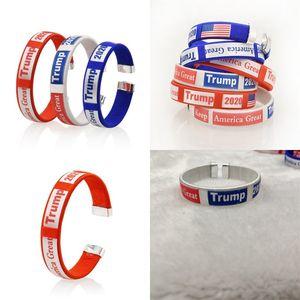 Trump Pulseira Mantenha América Grande Estados Unidos Votação Enrole Pulseira laço Nation Flags Circular Cuff pulseiras de plástico azul Branco 1 2GG C2