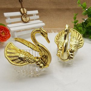 1 Pc Nueva creativo Kawaii Oro Silver Swan romántica favor de la boda caja de regalo cajas del caramelo de los favores de la celebración del partido de la decoración la caja del caramelo