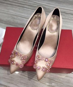 2018 women s shoes handmade silk 6 cm high heels shoes large brand diamond size 35-40 free shipping