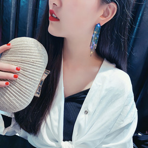 Fashion Long Tassel Full Rhinestone Drop Earrings for Women Shiny Water Drop Crystal Dangle Earrings Jewelry Gifts New Gold Silver Color
