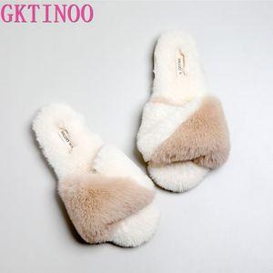 GKTINOO Qualité japonaise Accueil Chaussures Femmes chaussons en peluche chaud Peep Toe tongs en caoutchouc Chambre antidérapants Chaussures Femmes
