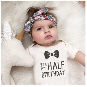 2020 bambino infantile Body E 'la mia metà Birthday Letters Stampa sveglio divertente bianchi vestiti del bambino 1ST Regalo di compleanno
