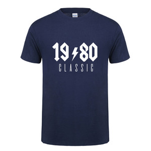 Omnitee 1980 clássico camiseta Tops Homens de algodão de manga curta 1980 Presente de aniversário Camiseta Mans Camiseta OZ-224